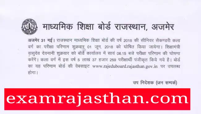 Latest News About RBSE 12th Arts Result 2018