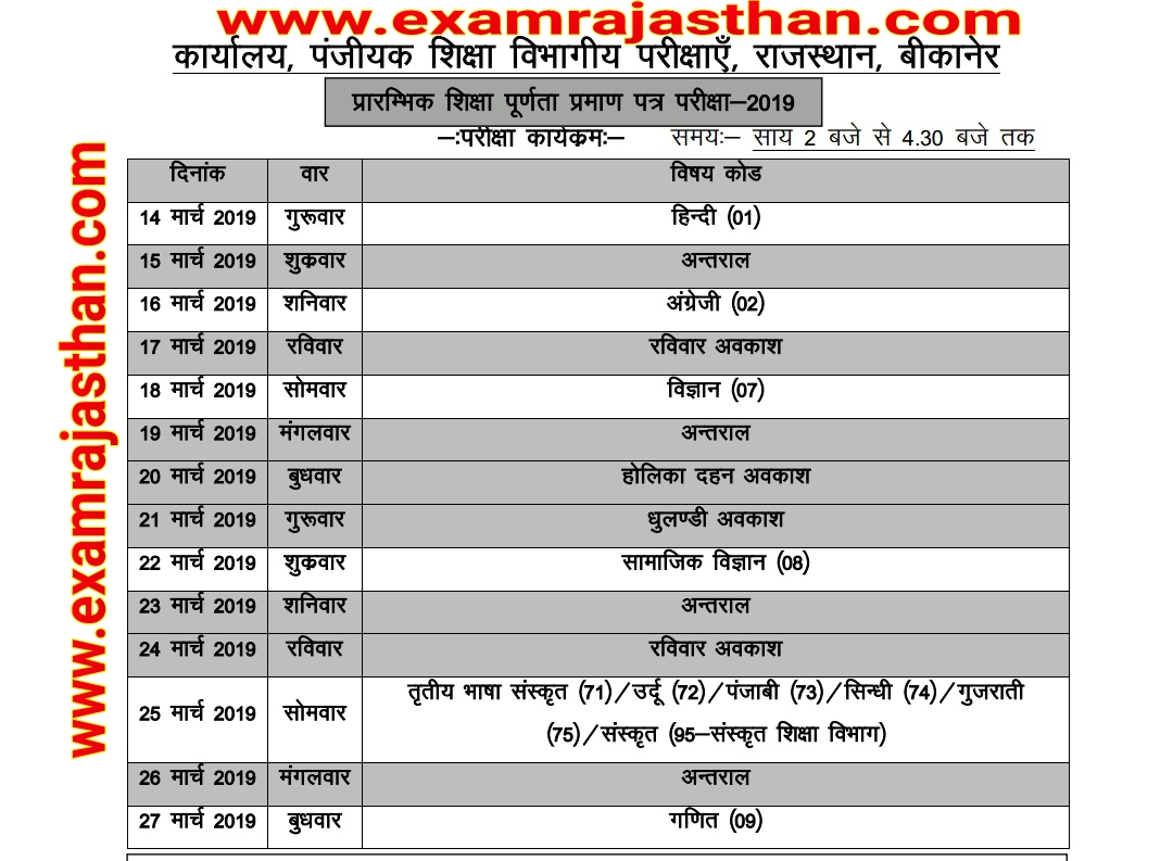 RBSE 8th Class Time Table 2019 rajasthan 8th board time